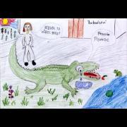 Z výstavy minulého desetiletí. Soutěž dětských kreseb. Autorkou je Anežka Štefková